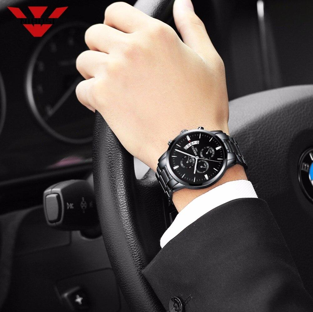 NIBOSI Chronograph Multifunction Calendar Black Stainless Steel Luminous Men Business Sport Quartz Wrist Watch Top Brand Luxury in Quartz Watches from Watches