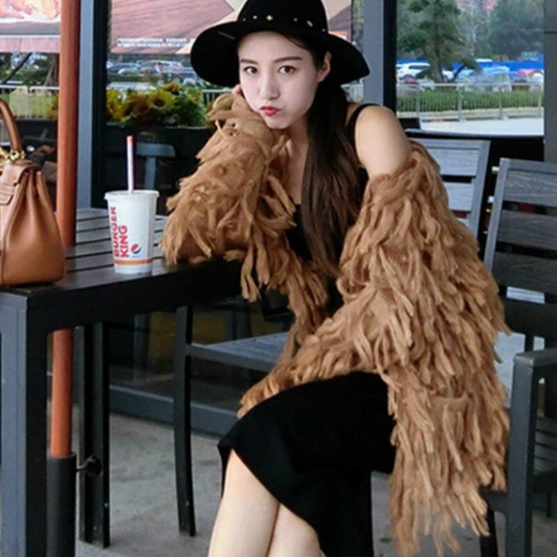 Женский шаль с бахромой пальто свободный тонкий v образный вырез свитер кисточки вязаный кардиган длинные волосы пальто карманы Куртка Вер