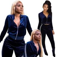 2018 Autumn Velvet Tracksuit Women Two Piece Set Long Sleeve Zipper Jacket Top + Pant Suit Casual Sweat Suit Women Leisure Suit