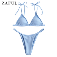 ZAFUL Sexy Ribbed Tie Bralette Triangle Swimsuit Solid Tie Up Thong Women Bathing Suit Ribbed Push Up Bathers Micro Bikini 2019