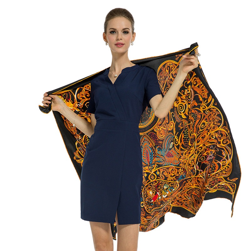 POBING Luxury Brand 100% Silk   Scarf   Women Animals Island 130CM Square   Scarves     Wraps   Large Rolled Foulard Femme Twill Silk Shawl
