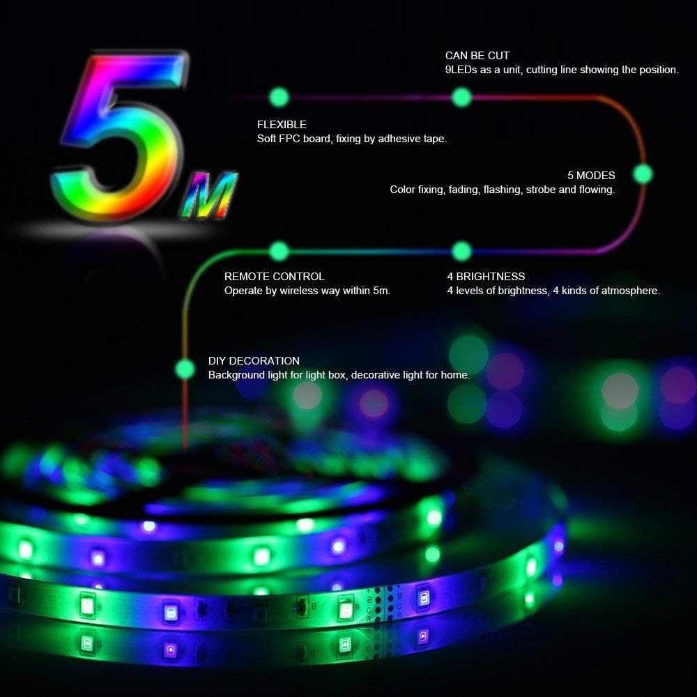 5 M 10 M LED Strip 12 V 60 LED/M Lampu LED Rope Light SMD 2835 LED Flexible Lampu lampu Multicolor LED String + LED Controller + Adaptor