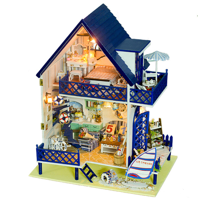 Diy casa de boneca Miniature Doll House Model Building Kits Wooden Furniture Toys Birthday Gifts Dollhouse-Love Bali Island d030 diy mini villa model large wooden doll house miniature furniture 3d wooden puzzle building model
