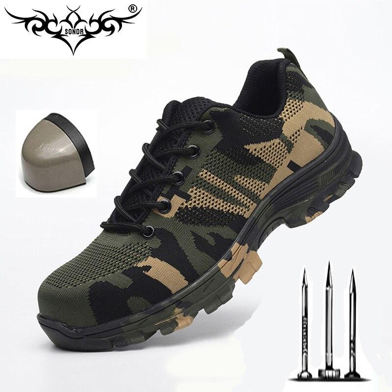Homens Nariz de Aço Sapatos De Segurança do Trabalho Botas de Construção Evitar perfuração de Proteção Camuflagem Tênis Casuais botas Plus Size 47 48
