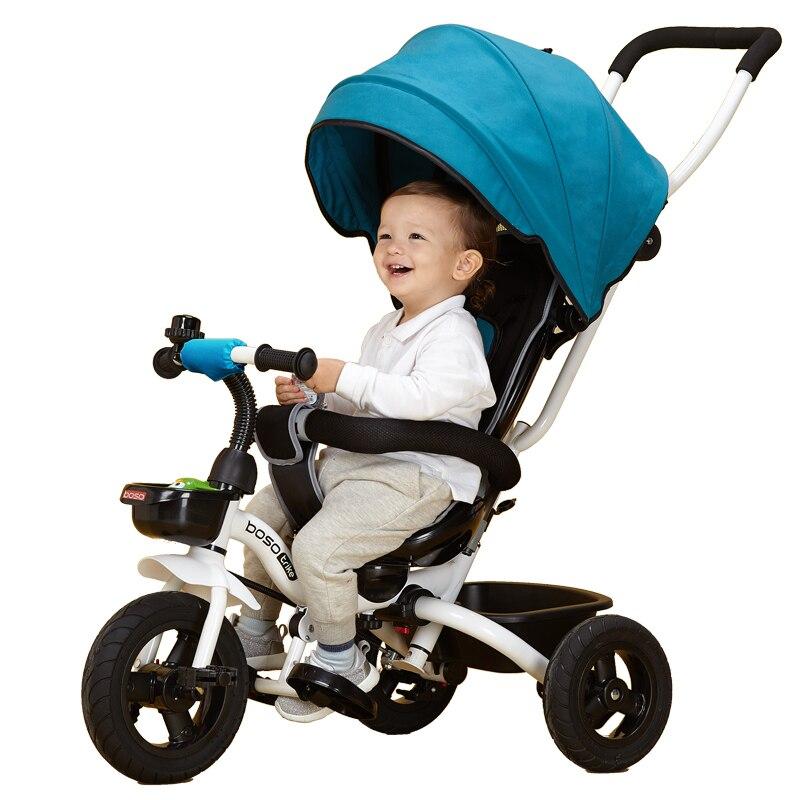 Детский трехколесный велосипед BOSO 4 в 1, детская тележка с одним ключом, ходунки с резиновым колесом, детская коляска с стальной рамой