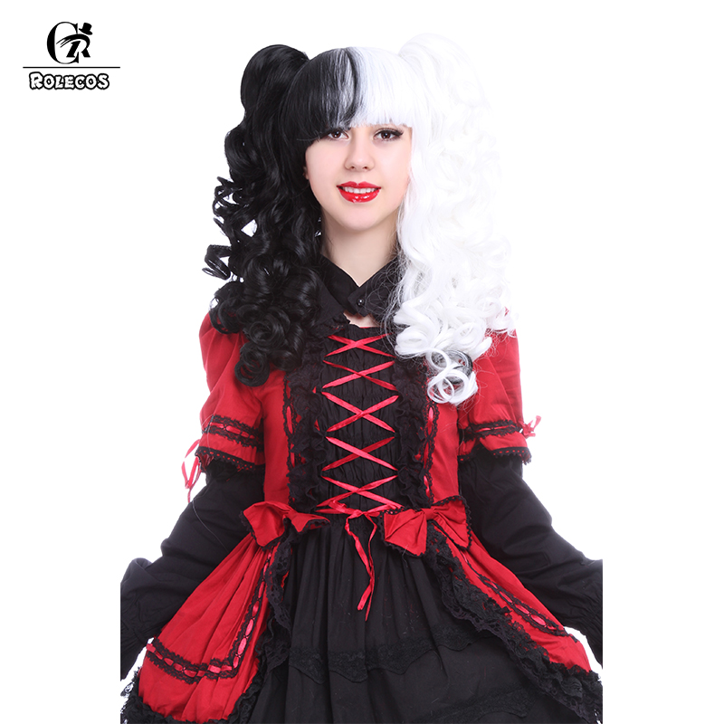ROLECOS 60cm 23.62inch Long Cosplay Headwear Black and White Lolita Wavy Synthetic Hair Accessories