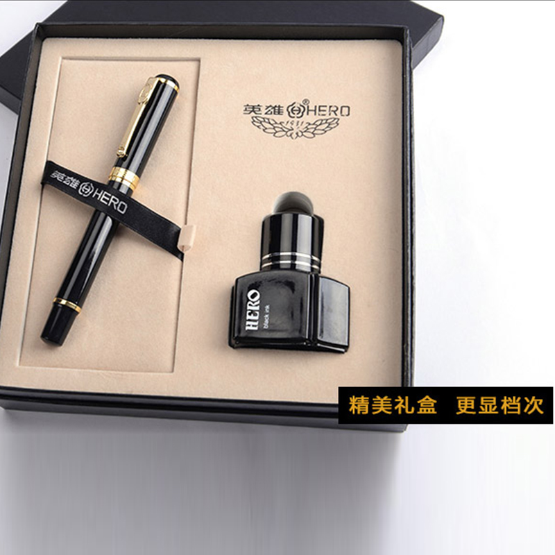 New Hero 9076A High End Luxury Ink Fountain Pen with Original Box 0.5mm Nib Standard Pens эспандер sport elite кольцо 35kg