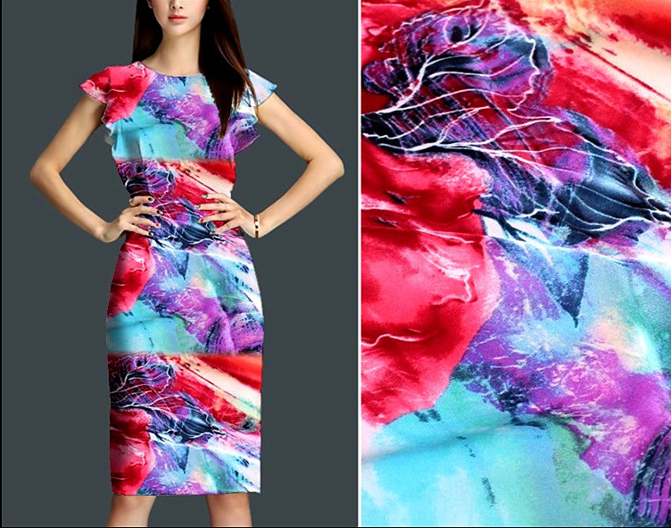140cm Wide High end Silk Dress Fabric Stretch Printed Silk Fabric DIY sequin Satin Dress telas sewing tissu stoffen tecido tela