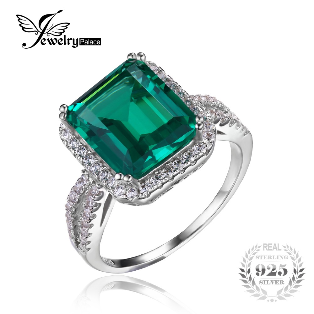 JewelryPalace Rectangle 3.6ct Created Emerald Halo Engagement Rings 100% Real 925 Sterling Silver Luxury Brand Jewelry For Women