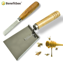 Benefitbee 2pc Beekeeping Stainless Steel Shovel Scraper Knife Tool Wooden Handle For Beehive Frame Excluder Cleaning Apiculture