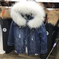 2018 зимняя куртка женские пальто парки Denim натуральной мех енота лайнер с меховым воротником теплая верхняя одежда Уличная