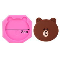 TILLWELL Brown Bear Ice Cream Biscuit Silicone Mold Cake Decoration Plug In Mold 1066