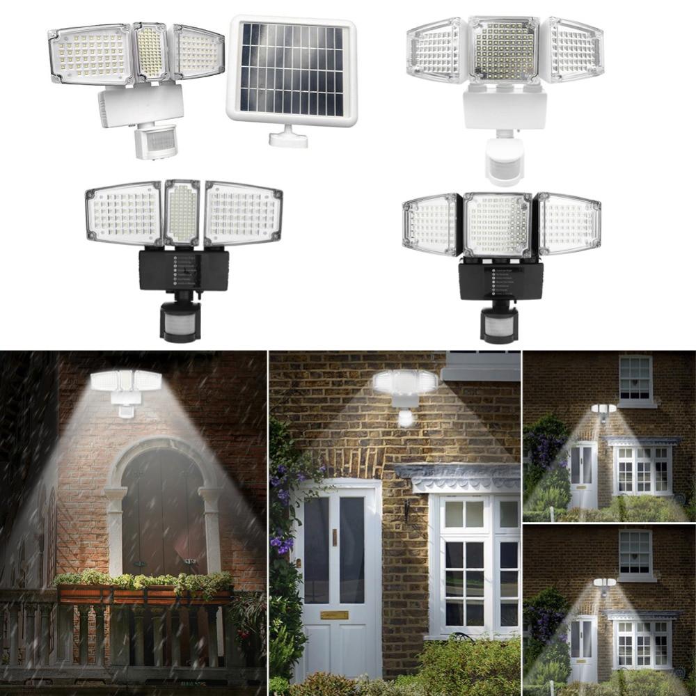 178 188 LED Solar Powered Outdoor Garden Motion Sensor Security Flood Light Spot White and black