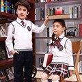 England Kindergarten students uniforms class service garden shcool clothes Spring sports suit boys and girls wool vest suit