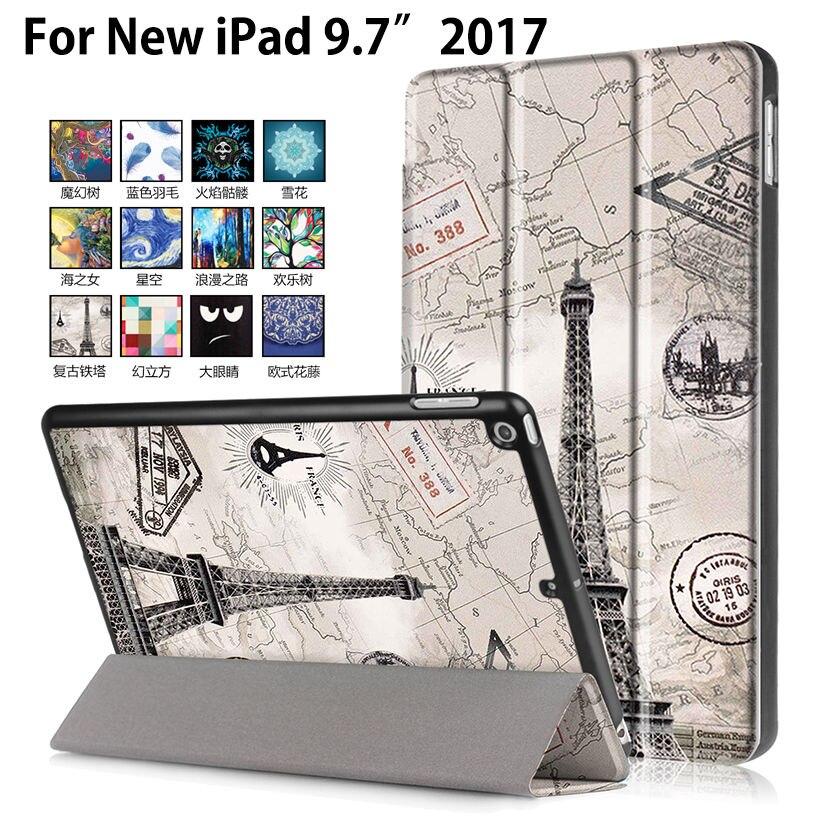 Ultra Slim Print Mönster Läderfodral till Apple New iPad 9,7 2017 2018 A1822 A1823 A1893 Skal Fundas Tablet Flip Stand Shell