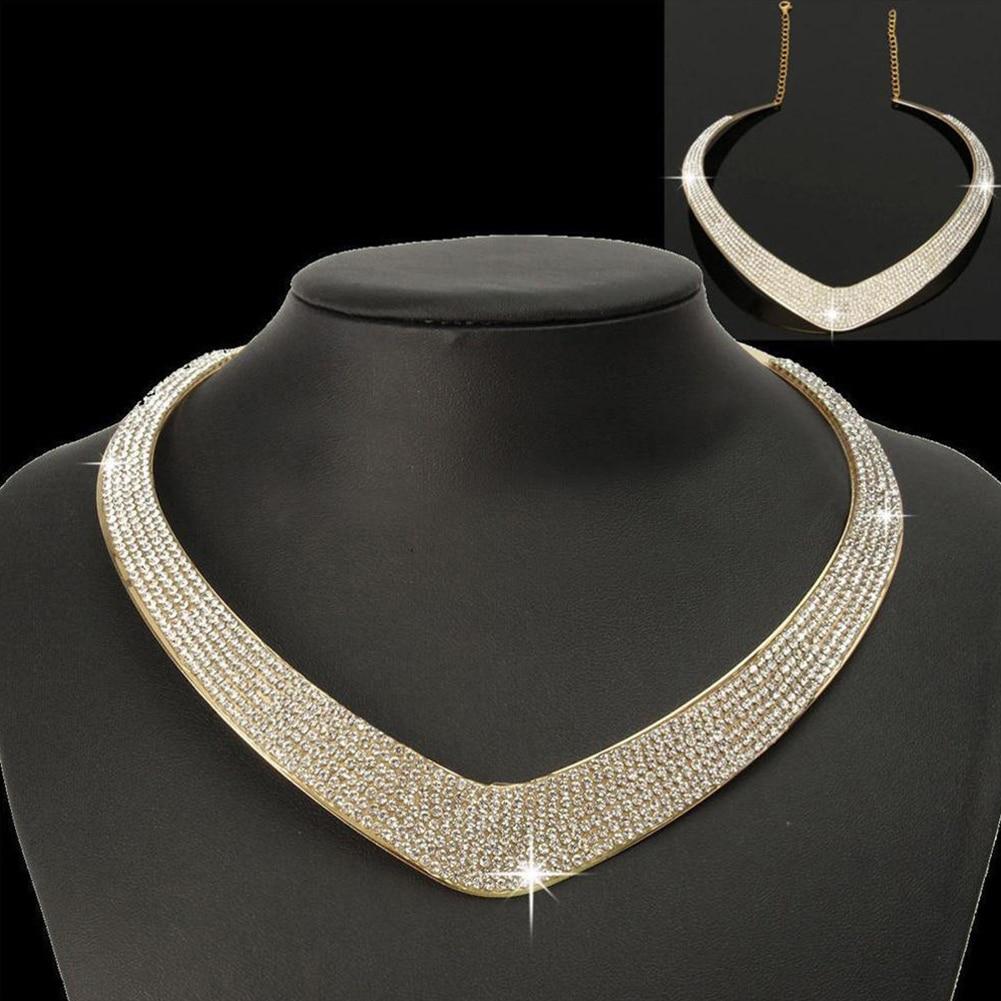 Women Fashioon Shinny Full Crystal Rhinestone Adjustable Collar Choker Necklace Choker Bib Collar Chain Jewelry