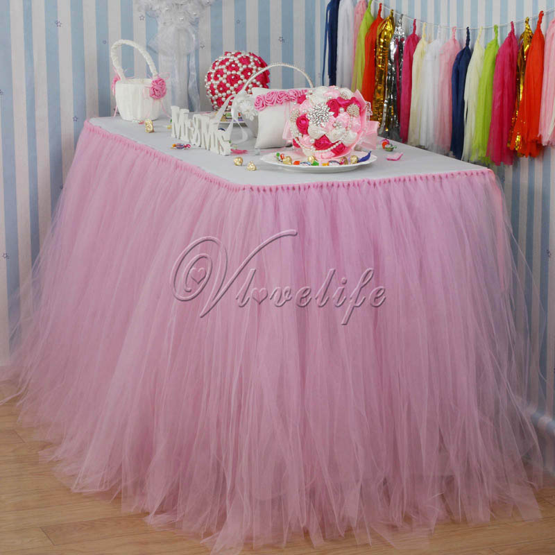 100cm X 80cm Pink Tulle Tutu Table Skirt Custom Wonderland Skirting Wedding Birthday Baby Shower Party Decoration In DIY Decorations From