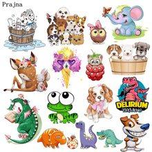 Prajna, Мультяшные животные, кошка, собака, термо-наклейки на одежду для детей, футболка