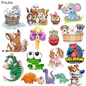 Prajna Cartoon Animals Cat Dog Heat Transfer Frog Deer Elephant Iron-On Transfers Thermal Stickers On Clothes For Kids T-shirt(China)