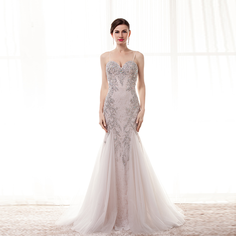 Real Model Photos Light Champagne Color Spaghrtti Straps Sequins Beaded Luxury Formal Evening Gowns Mermaid Tulle Long Evening