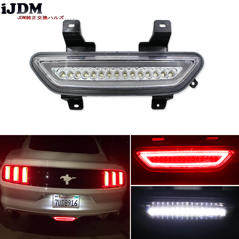 iJDM Euro Style All-In-One Full LED Rear Fog Light Kit (Tail/Brake, Backup Reverse Functions) For 2015-up Ford Mustang,White/Red diy 4 core usb data charging cables w shielding layer white 5 pcs 100cm