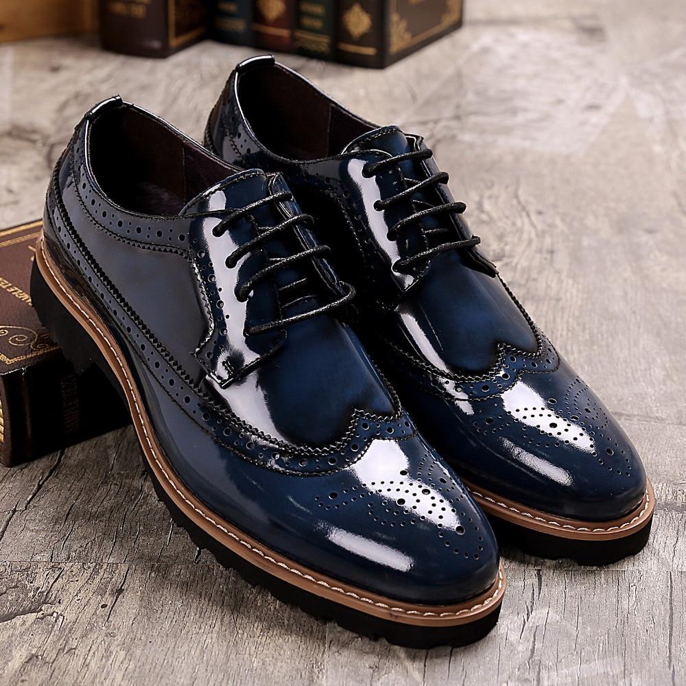 DESAI Men s Full Brogue Shoes Oxfords Cow Leather Dress Shoes Men Business Formal Shoes Genuine