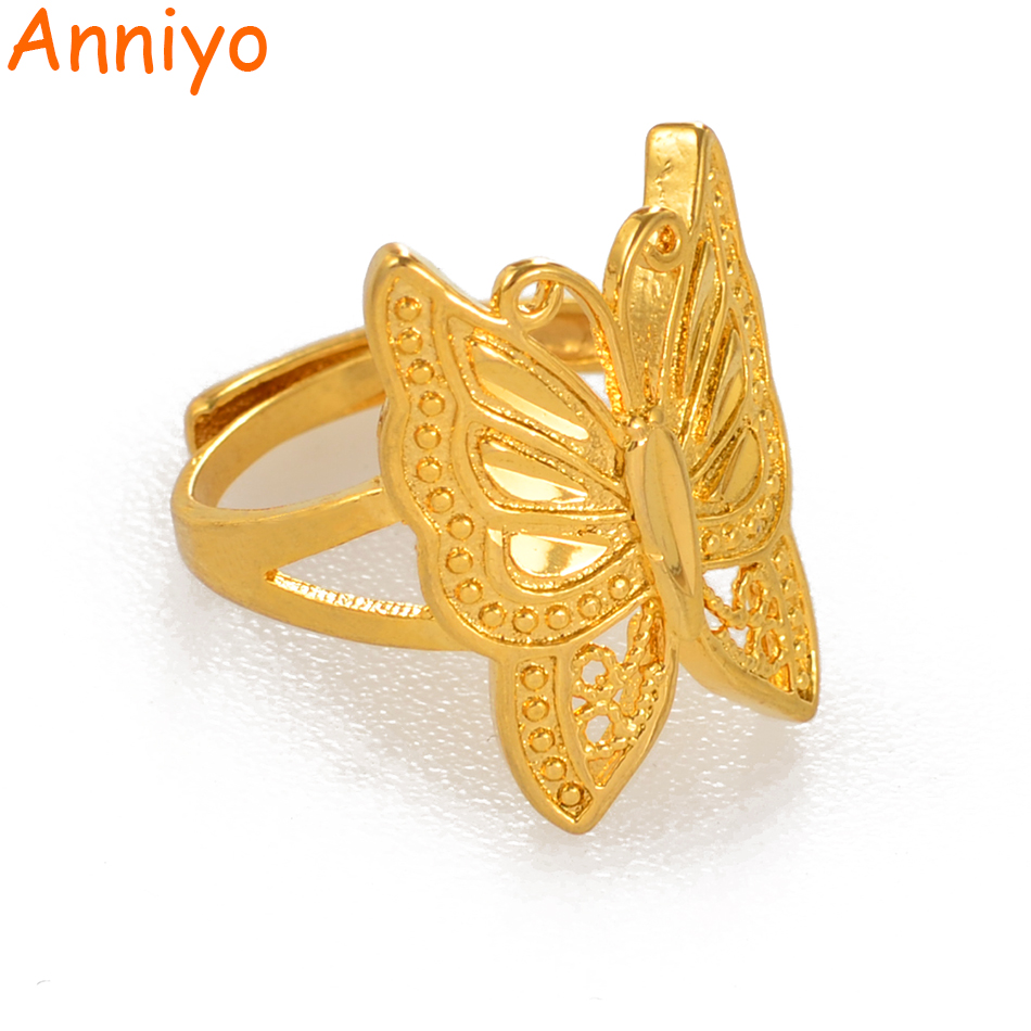 Anniyo Butterfly-Ring Resizable Jewelry Gold-Color Women Trendy Insect for PNG Gifts