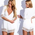 Top Selling Women Playsuit Sexy Casual V Neck Half Sleeve Elastic High Waist Lace Stitching Solid White Jumpsuit Rompers 29