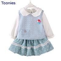3Pcs Child Sportswear 2018 New Design Girls Skirt Suits Long Sleeve Cute Princess Toddler Costume Autumn