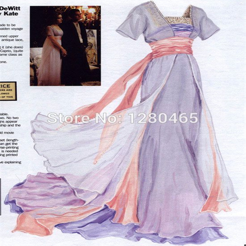 Vestidos titanic rose chiffon celebrity dress abend dress abendkleid ...