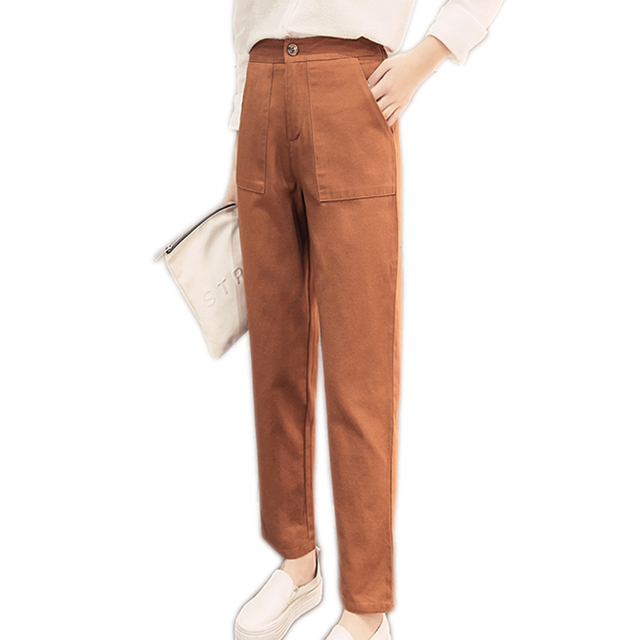 2017 New Women Casual Pants Solid Color High Waist Big Pocket Straight Fashion Pants Female Zipper Trousers Ladies Bottom