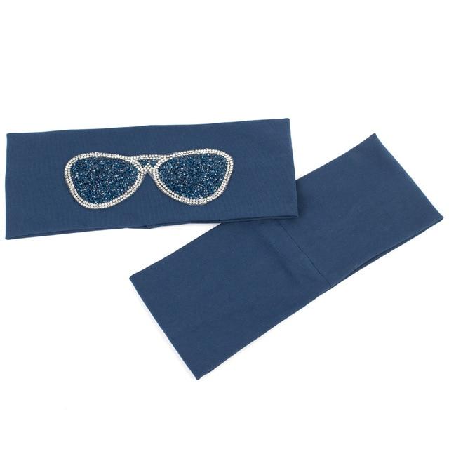 Geebro Women's Plain Stretch Headbands Fashion Cotton Sunglasses Elastic Flat Headband For Girls Shine Rhinestones Hair Band 1