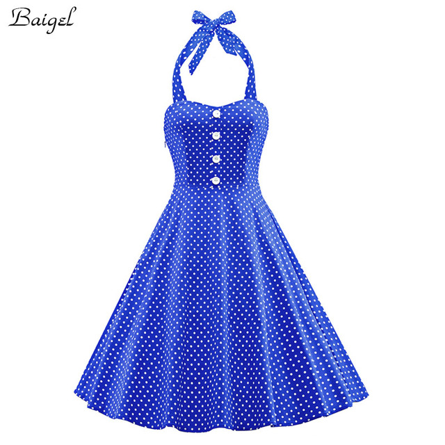 Womens Polka Dot Backless Halter Summer Dress 2017 1940s 50s 60s Retro  Style Pin up Rockabilly