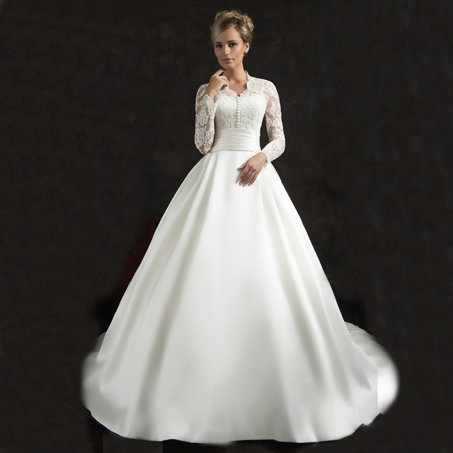 V ausschnitt Reich Eine Linie Spitze Vintage Langarm Hochzeit Kleid ...