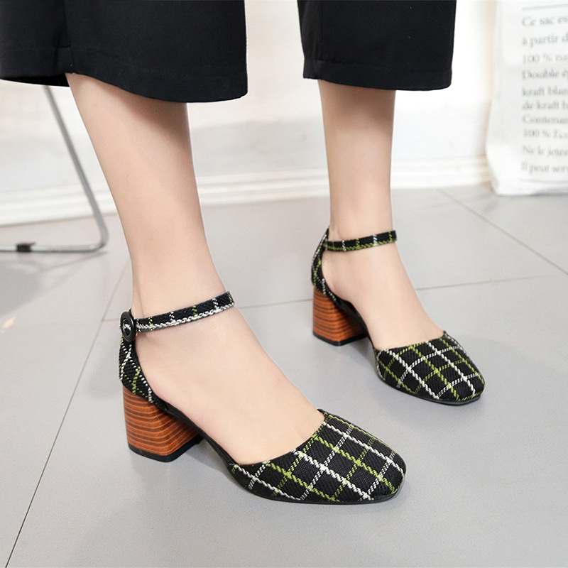 High Heels Shoes Women Pumps Square Toe Summer Sandals Thick Heels Plaid Casual Good Quality Female Office Shoes Comfortable 6