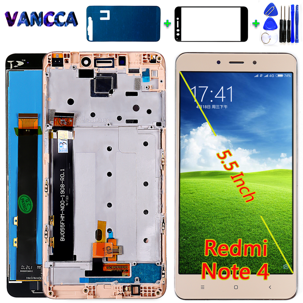 AAA Quality LCD Display For Xiaomi Redmi Note 4 (CPU: MTK Helio X20) 5.5 Inch Touch Screen Digitizer Assembly Frame With Tools