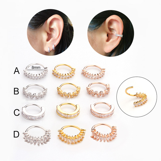 Sellsets Silver And Gold Color Helix Jewelry Cz Helix Earring Hoop