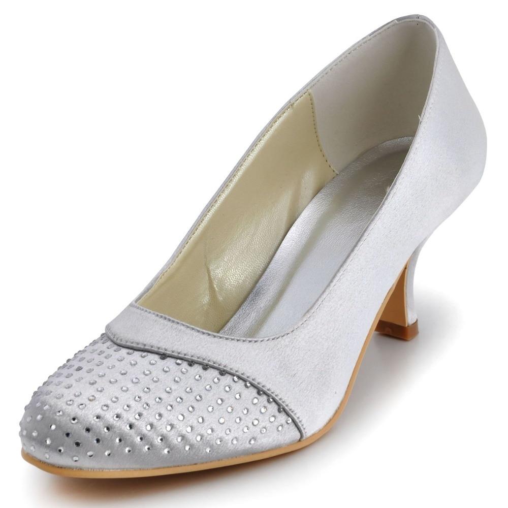 ФОТО EP2027 Sliver Women  Prom Party Closed Toe High Heels Bridal Pumps Rhinestones Satin Wedding Shoes