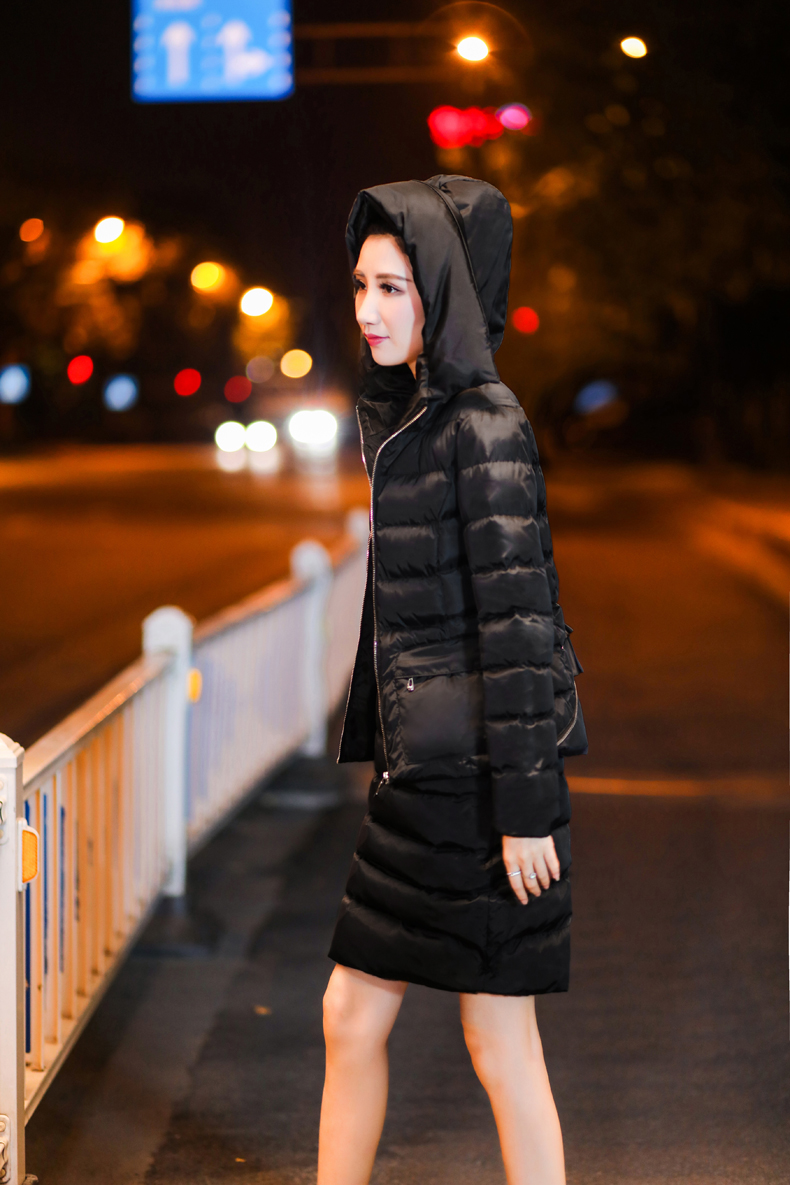 SexeMara Real Shot 2018 Winter New Down Cotton Suit Fashion Suit Female Small Fresh Warm Hooded Two-Piece Elegant Dress (14)