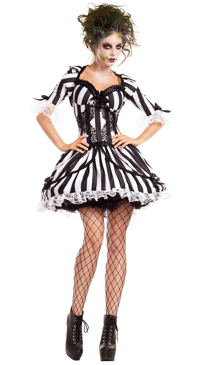 Beetlejuice The Movie Women Costume Adult Black /& White Striped Suit Corset Hat