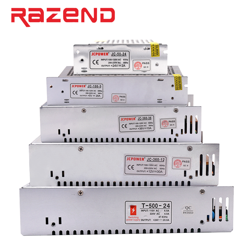 Switch power supply Led strip power supply adapter AC100-240V to DC 12V 5V 24V 24W 60W 100W 120W 200W 360W 400W 500W transformer