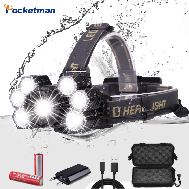 Pocketma Headlamp 3*T6 +2*XPE LED Lamp 5-Mode Zoomable Headlight USB Charger Head Torch Fishing Camping Flashlight 18650 Battery