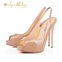Onlymaker 2017New Arrive Women Sexy Peep Toe Super High Heels Platform Slingback Pumps Shoes Dress&Wedding&Party Large Size 4-16