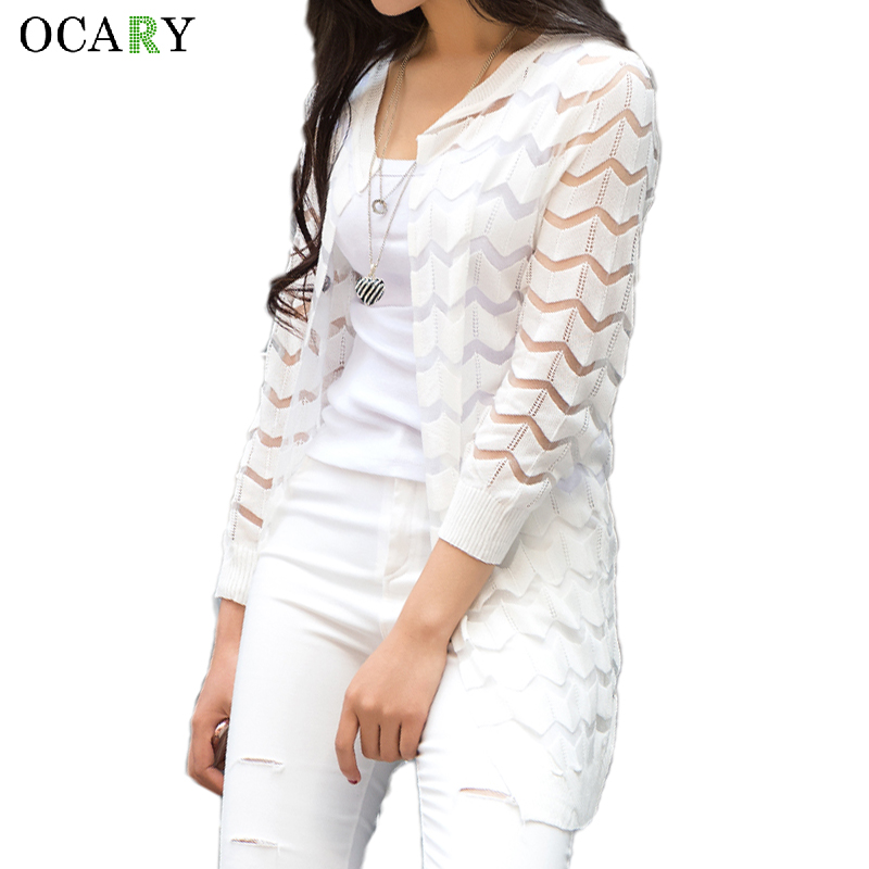 Summer Hollow Out Beach Cool Cardigans Spring Women Long Sweater Knitted Rebecas Mujer New Crochet Femme Casual Ladies Tops