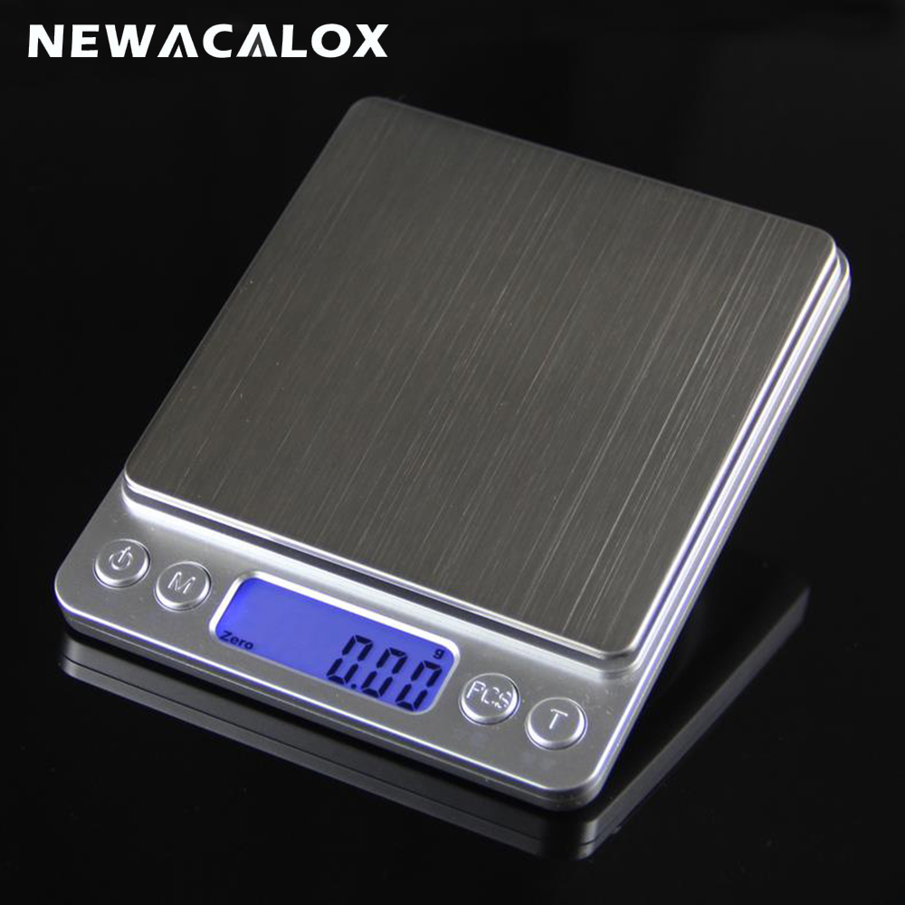 NEWACALOX 500g x 0.01g LED Digital Scale Sterling Silver Jewelry Scale Pocket High Precision Electronic Weighting Scales 1 8 lcd pocket digital scale black 500g 0 01g 2 x aaa