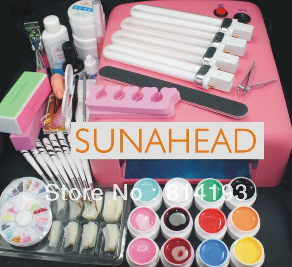 Pro 36W UV GEL Pink Lamp & 12 Color UV Gel Nail Art Tool Kits Sets elan gallery
