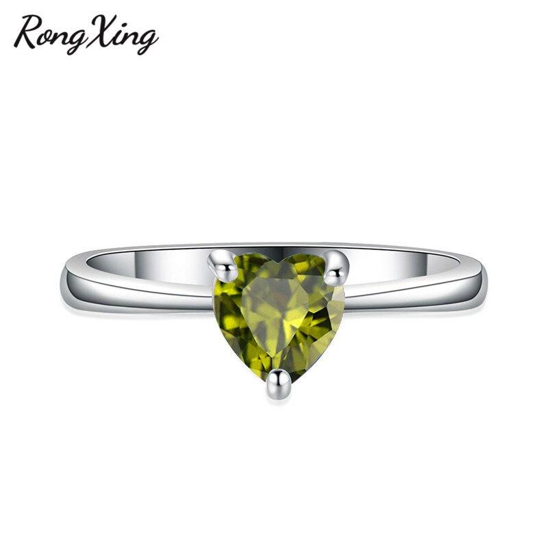 RongXing 925 пробы заполненный серебром браслет с сердцем из опала камень кольца для женщин Винтажная Мода фиолетовый/красный/синий/кольцо с зеленым Цирконом подарок - Цвет основного камня: Olive Green