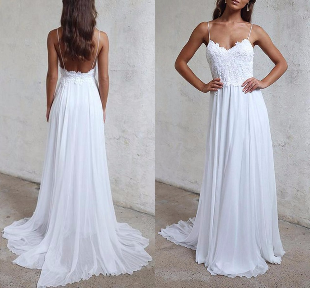 Summer Beach Bohemia Wedding Dresses 2019 Sexy Chiffon Boho Straps Lace Backless White Long Bridal Gowns for Beautiful Girls