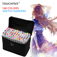 TouchFIVE 168 Colors Art Marker Set Alcohol Based Brush Pen Liner Dual Head Student Sketch Markers Drawing Manga Art Supplies
