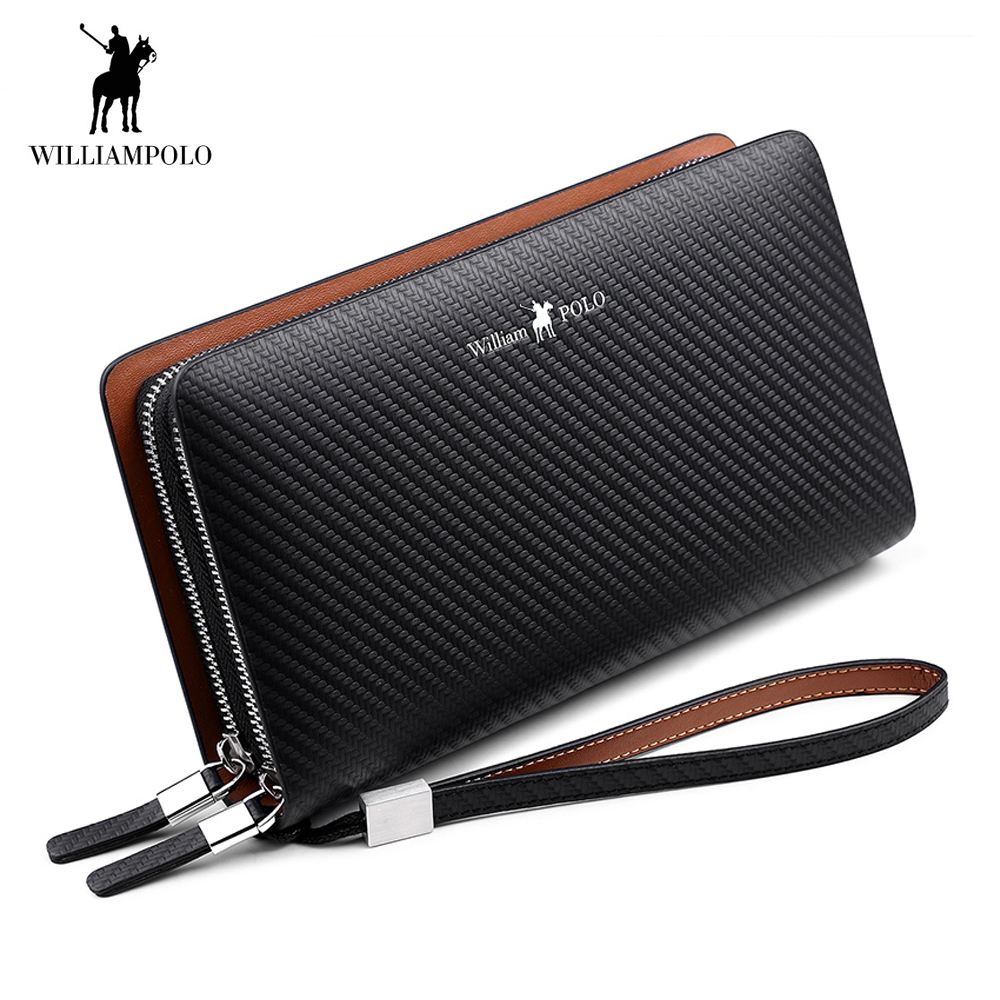 цена на 2018 Brand Genuine Leather Wallet Men Clutch Bag Cow Leather Wallet Card Holder Coin Purse all purpose Zipper Male Long Wallets